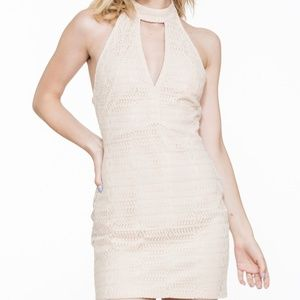PARTY/SEXY HALTER NECK LACE UP DRESS BLUSH
